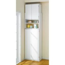 薄型で省スペースキッチン突っ張り収納庫 扉タイプ 幅60cm・奥行31cm 商品正面向き、扉閉め使用時。 スッキリした印象です。