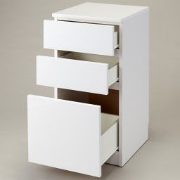 組立不要!幅1cm単位で62サイズから選べるすき間収納庫 ロータイプ 幅31~45cm・奥行55cm (ア)ホワイト
