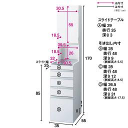 光沢仕上げダブルステンレス天板すき間収納庫 ハイタイプ高さ170cm 幅35cm