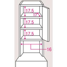 水ハネに強いポリエステル仕様 キッチンすき間収納庫 奥行55cm・幅20cm ハイタイプ 上段棚部のサイズ入り詳細図。棚板は3cmピッチで可動できます。