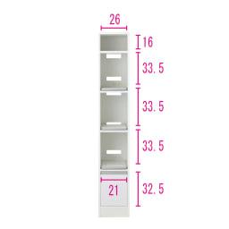 奥行スリム 幅が選べる 省スペース家電収納庫 幅30cm ※内寸図 コンセントはスライドテーブルの上段・下段についています。