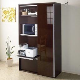 引き戸スライド扉で隠せる光沢仕上げキッチン家電収納庫 奥行45cmタイプ 前面には光沢感の美しい素材を採用しました。水ハネや油に強く、お手入れが簡単です。