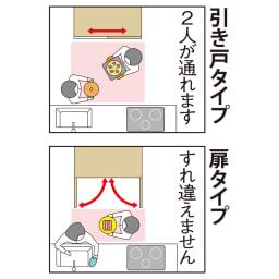 引き戸スライド扉で隠せる光沢仕上げキッチン家電収納庫 奥行45cmタイプ 狭い場所でも使いやすい「引き戸」