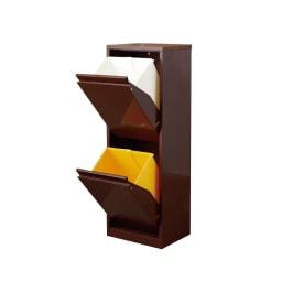 カラフルなペールでわかりやすく分別できる スチール製ダストボックス 幅42cm 高さ115cm (イ)ブラウン ペール大2個