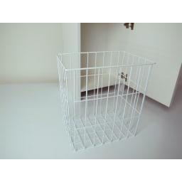 組立不要 洗濯カゴ付き2in1光沢サニタリー収納庫 ハイタイプ 幅43.5cm