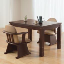 【長方形】幅105cm奥行80cm ダイニングこたつテーブル【高さ調節できます】 高さを変えて座りからテーブルまで6通りのこたつ生活ができます。 高さ65cm 継ぎ脚10cm+10cm使用時 小柄な方・足腰が気になる方にも使いやすいダイニング。