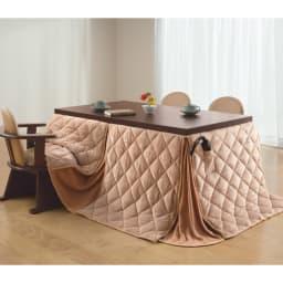 【長方形】幅105cm奥行80cm ダイニングこたつテーブル【高さ調節できます】 高さを変えて座りからテーブルまで6通りのこたつ生活ができます。 高さ60cm 継ぎ脚10cm+5cm使用時 天井を高く部屋を広く見せる、低めのダイニングとして。
