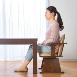 【長方形】幅105cm奥行80cm ダイニングこたつテーブル【高さ調節できます】 高さ60cm時。生活スタイルに合わせて高さを選べます。