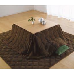 【長方形】108×75cm 4段階高さ調整平面パネルヒーター付きこたつ 布団使用イメージ。こたつは80x80タイプです。
