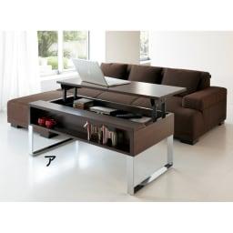 収納もたっぷり!腰かけながら使えるリフティングテーブル幅90 ※写真は幅110cmタイプ