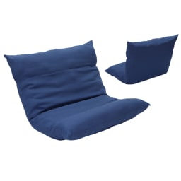 [国産]ふんわりハイバック座椅子ソファデラックスワイド (ウ)ネイビー