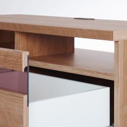 天然木調テレビ台ハイバックシリーズ テレビ台・幅159.5奥行45cm デッキ収納部の裏側は配線がしやすいオープン仕様。