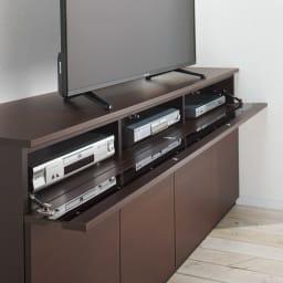 ラインスタイルハイタイプテレビ台シリーズ テレビ台・幅60cm フラップ扉はバタンと倒れない仕様。