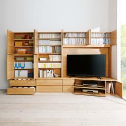 コーナーテレビ台壁面収納シリーズ 幅117cm TV台右壁設置用 コーディネート例(イ)ライトブラウン