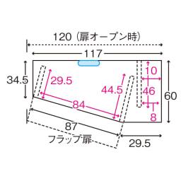 コーナーテレビ台壁面収納シリーズ 幅117cm TV台左壁設置用 平面図 ※赤文字は内寸(単位:cm)※青色部分はコード穴 ※左壁設置用は左右が逆の仕様です