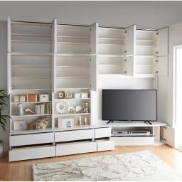 コーナーテレビ台壁面収納シリーズ 幅150cm TV台右壁設置用 コーディネート例(ア)ホワイト