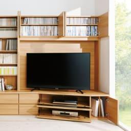 コーナーテレビ台壁面収納シリーズ 幅150cm TV台右壁設置用 コーディネート例(イ)ライトブラウン
