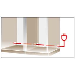 コーナーテレビ台壁面収納シリーズ 幅150cm TV台右壁設置用 コードスッキリ内部配線孔。アイテム間をつなぐ側面配線孔はコード類を露出させずコンセントへ。壁面にぴったり設置可能です。