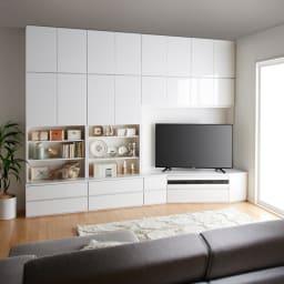 コーナーテレビ台壁面収納シリーズ 幅150cm TV台右壁設置用 コーディネート例 ソファ目線(ア)ホワイト
