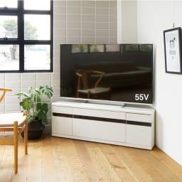 大型テレビが見やすいスイングコーナーテレビ台 幅130cm (ウ)ホワイト