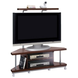 テレビ上の空間を有効活用できるシリーズ コーナー用テレビ台 幅120cm ダークブラウンカラーイメージです。お届けの商品には上棚は着つきません。