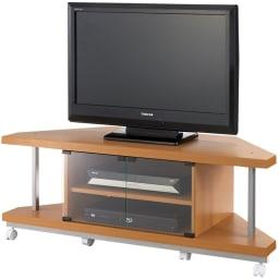 テレビ上の空間を有効活用できるシリーズ コーナー用テレビ台 幅120cm (ア)ナチュラル ※テレビは32インチ液晶テレビを載せています。