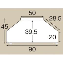 配線コード巻き取り機能付き!オープンコーナーテレビ台 幅90cm・オープンタイプ 天板平面図(単位:cm)