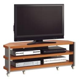 配線コード巻き取り機能付き!オープンコーナーテレビ台 幅90cm・オープンタイプ (ア)ナチュラル色見本 ※写真は幅120cmタイプです。