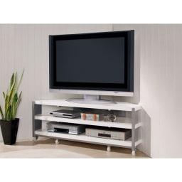 配線コード巻き取り機能付き!オープンコーナーテレビ台 幅120cm・オープンタイプ (イ)ホワイト ストッパー付きキャスターを採用。万が一の時もロックをかけておけば安心です。