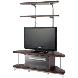 テレビ上の空間を有効活用できるシリーズ コーナー用テレビ台 幅120cm・棚2段 (ウ)ダークブラウン ※テレビは32インチ液晶テレビを載せています。