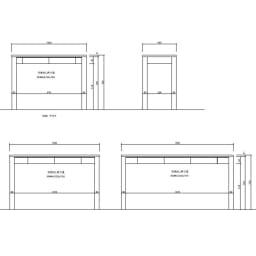 タモ天然木アルミライン薄型デスク 奥行45cm 幅100cm 詳細図