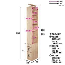 天然木調 配線すっきりデスクシリーズ 突っ張りサイドラック・幅30cm奥行45cm