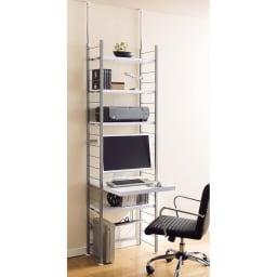 突っ張り式高さ調節シリーズ デスクラック 幅60cm (イ)ホワイト:棚板・天板は10cmピッチで高さ調節ができます。
