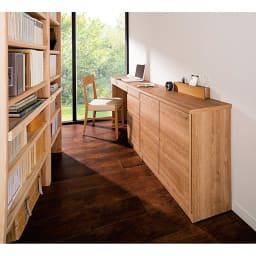 天然木調薄型コンパクトオフィスシリーズ サイドチェスト・幅40cm 使用イメージ ※お届けは奥から2番目のサイドチェストです。