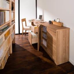 天然木調薄型コンパクトオフィスシリーズ サイドチェスト・幅40cm 収納イメージ ※お届けは奥から2番目のサイドチェストです。