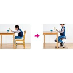 バランススタディチェア 軽く前傾した座面と足乗せ部分の適切な角度で背骨を自然なS字カーブに保ち、背筋が伸びやすくなります。