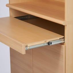 奥行44cm 生活感を隠すリビング壁面収納シリーズ 収納庫 PCデスク 幅80cm デスク天板下はノートPCを使用・収納できるスライドテーブル付きです。