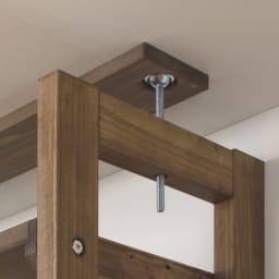 国産檜 頑丈突っ張りシェルフ 幅90奥行29cm(天井対応高さ188~252cm) 天井との突っ張り部分は面でしっかりと支えます。