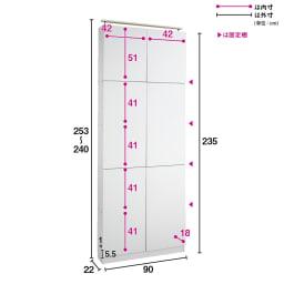 天井突っ張り式壁面ラック 扉タイプ上置き付き 幅90奥行22本体高さ235cm