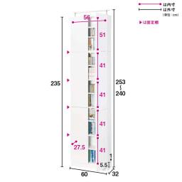 天井突っ張り式壁面ラック 扉タイプ上置き付き 幅60奥行32本体高さ235cm