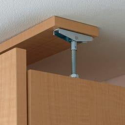 日用品もしまえる頑丈段違い書棚 ヴィンテージ木目調タイプ 上置き 幅60cm 上置きは天井突っ張り式で安定。