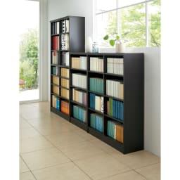色とサイズが選べるオープン本棚 幅28.5cm高さ150cm コーディネート例(エ)ダークブラウン ※お届けする商品とはサイズが異なります。