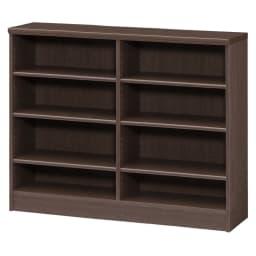 色とサイズが選べるオープン本棚 幅116.5cm高さ88.5cm (エ)ダークブラウン