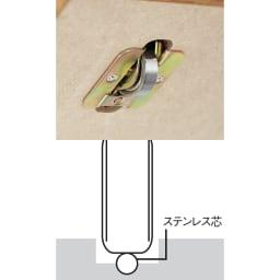 本格仕様 快適スライド書棚 オープン 2列 レール上のステンレス芯と点で接するので、静音でなめらかに動きます。サビや摩耗に強く、1個で約465kgに耐える特殊ベアリングローラーを採用しました。