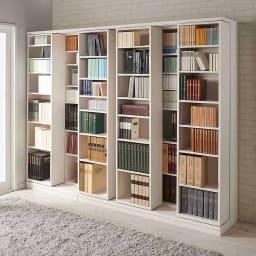 本格仕様 快適スライド書棚 オープン 2列 使用イメージ(ウ)ホワイト(木目)
