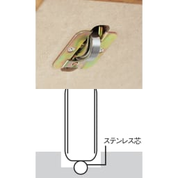 本格仕様 快適スライド書棚 オープン 3列 レール上のステンレス芯と点で接するので、静音でなめらかに動きます。サビや摩耗に強く、1個で約465kgに耐える特殊ベアリングローラーを採用しました。