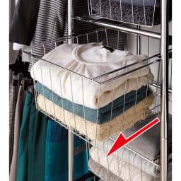カーテン付き アーバンスタイルクローゼットハンガー 引き出し付きタイプ・幅144~200cm対応 中身がわかるバスケット引き出し付き。ニットなどハンガーに掛けにくいものの収納にぴったり。