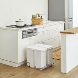 場所を選ばない伸縮パーテーション ロータイプ 幅64~94cm (Before)鍋やゴミ箱など生活感が出やすいキッチンが丸見えです。