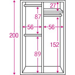 通気性の良い 引き戸ルーバーワードローブ 幅120cm 内部の構造図(単位:cm)