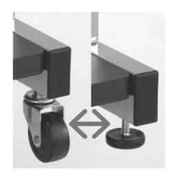 上下棚付き モダン頑丈ハンガーラック ダブル・幅60cm (ア)ダークブラウン キャスターとアジャスター、どちらでも組立可能です。